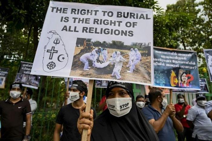 Protest to stop COVID-19 cremation in Sri Lanka