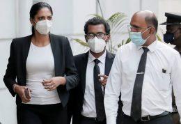 Caroline Jurie leaves the police station in Colombo Sri Lanka