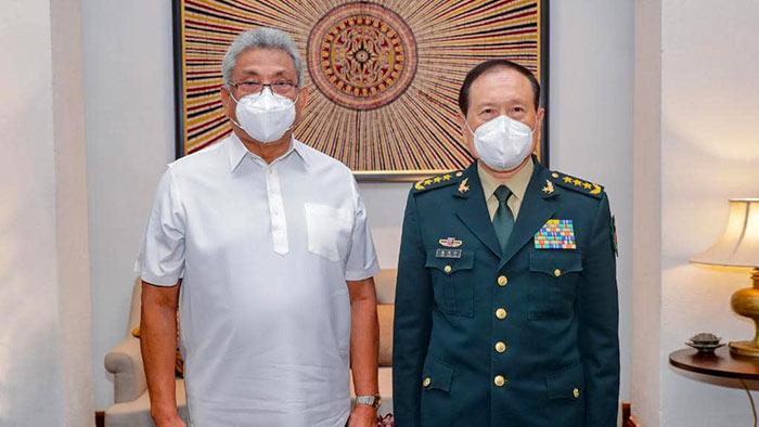 Sri Lanka President Gotabaya Rajapaksa and Chinese Defence Minister General Wei Fenghe
