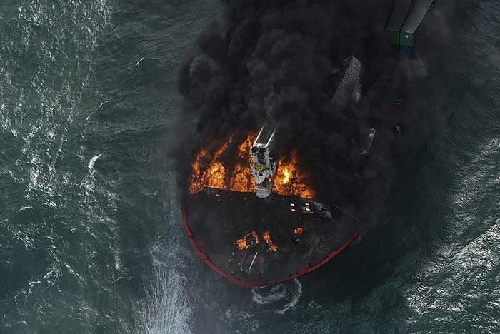 MV X-Press Pearl ship on fire