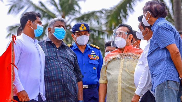 Sri Lanka Prime Minister Mahinda Rajapaksa inspects coastal line affected by burning X-Press Pearl ship