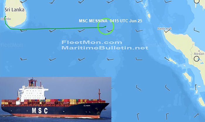 Container ship MSC Messina on fire