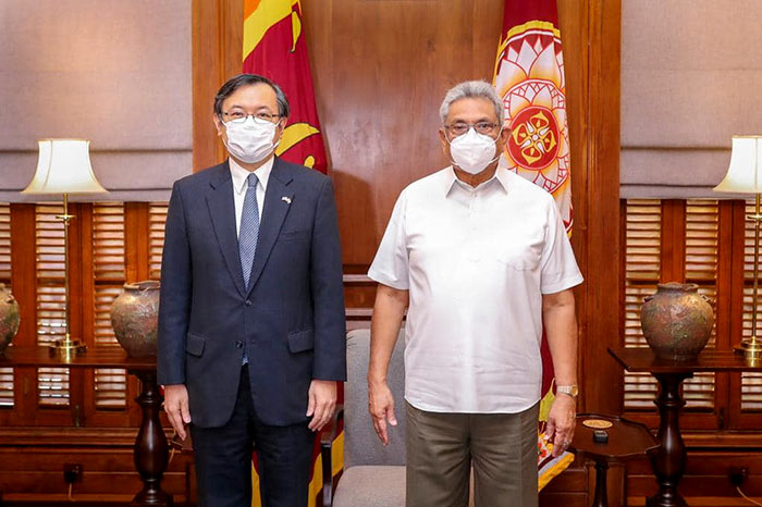 Sri Lanka President Gotabaya Rajapaksa with Japanese Ambassador to Sri Lanka Sugiyama Akira