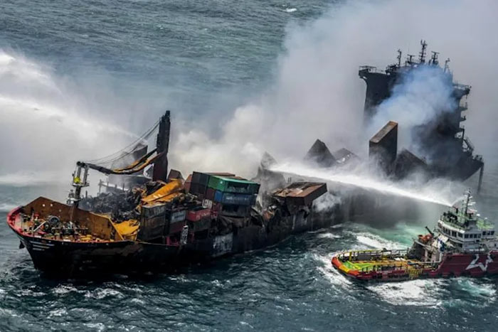 MV X-Press Pearl ship has burnt and is sinking