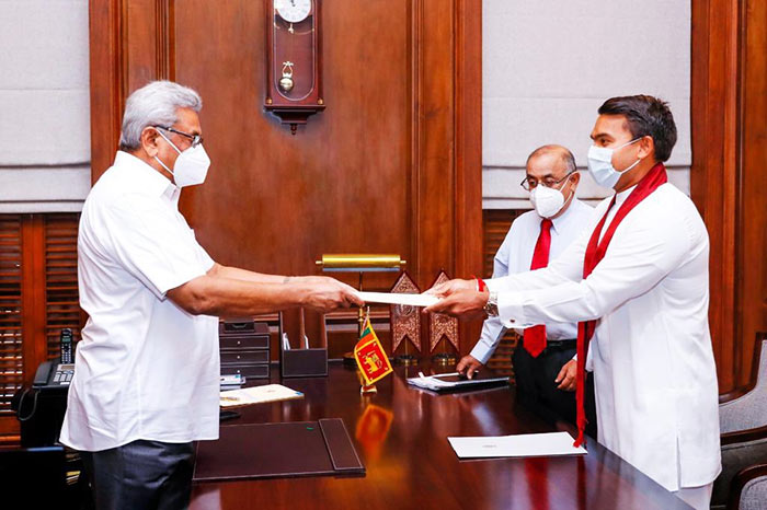 Namal Rajapaksa takes oath in new State Ministry