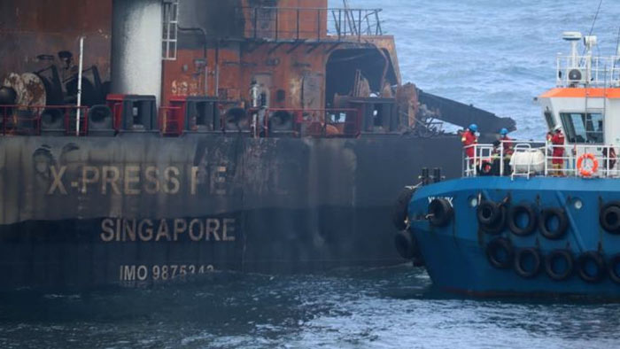 X-Press Pearl ship is burning