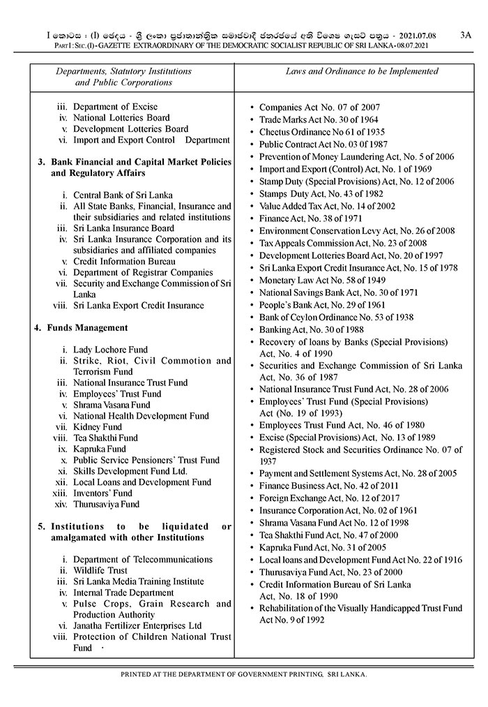 Amendments to two ministries