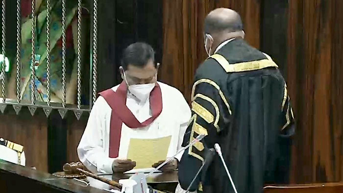 Basil Rajapaksa takes oath as a Member of Parliament