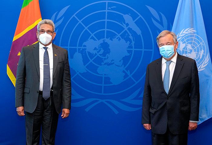 UN Secretary-General Antonio Guterres with Sri Lanka President Gotabaya Rajapaksa