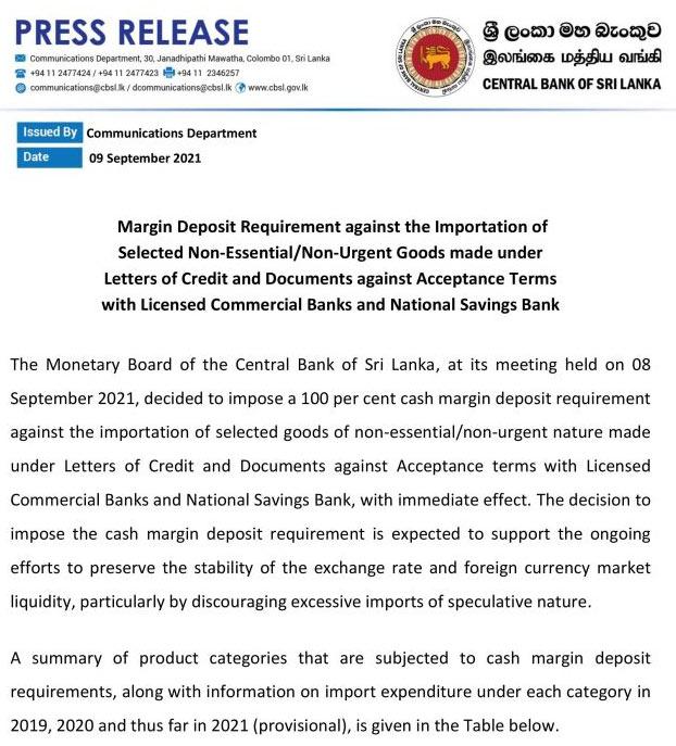 Non essential non urgent goods in Sri Lanka