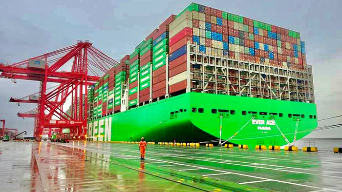 World's largest container ship 'Ever Ace' arrives at Colombo Port in Sri Lanka