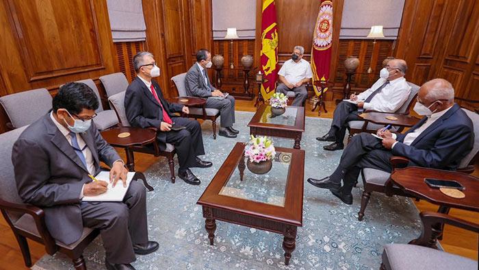 Asian Development Bank (ADB) Director-General Kenichi Yokoyama with Sri Lanka President Gotabaya Rajapaksa