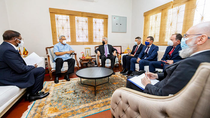Sri Lanka President Gotabaya Rajapaksa meeting with a delegation from the European Union (EU) at his private residence in Mirihana